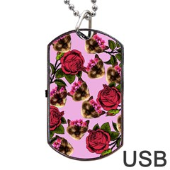 Lazy Cat Floral Pattern Pink Dog Tag Usb Flash (two Sides)
