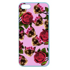 Lazy Cat Floral Pattern Pink Apple Seamless Iphone 5 Case (color)