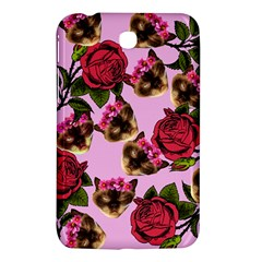 Lazy Cat Floral Pattern Pink Samsung Galaxy Tab 3 (7 ) P3200 Hardshell Case