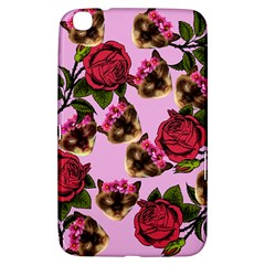 Lazy Cat Floral Pattern Pink Samsung Galaxy Tab 3 (8 ) T3100 Hardshell Case