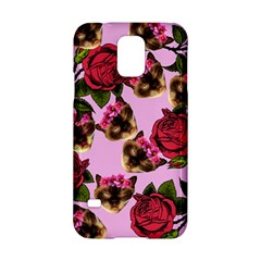 Lazy Cat Floral Pattern Pink Samsung Galaxy S5 Hardshell Case