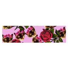 Lazy Cat Floral Pattern Pink Satin Scarf (oblong)