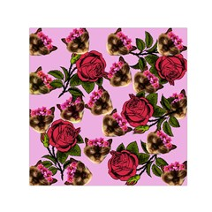 Lazy Cat Floral Pattern Pink Small Satin Scarf (square)
