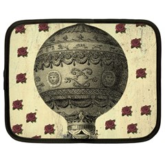Vintage Air Balloon With Roses Netbook Case (large)