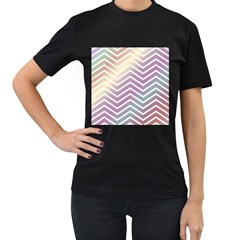 Ombre Zigzag 01 Women s T Shirt (black) (two Sided)