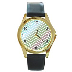 Ombre Zigzag 02 Round Gold Metal Watch