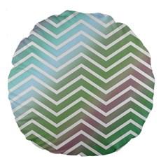 Ombre Zigzag 02 Large 18  Premium Flano Round Cushions