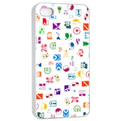 Colorful Abstract Symbols Apple Iphone 4/4s Seamless Case (white)