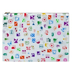 Colorful Abstract Symbols Cosmetic Bag (xxl)