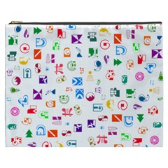 Colorful Abstract Symbols Cosmetic Bag (xxxl)