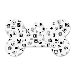 Black Abstract Symbols Dog Tag Bone (two Sides)