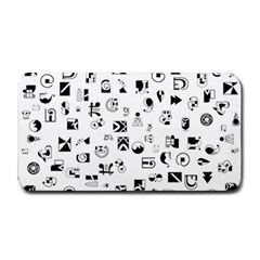 Black Abstract Symbols Medium Bar Mats