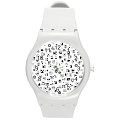 Black Abstract Symbols Round Plastic Sport Watch (m)