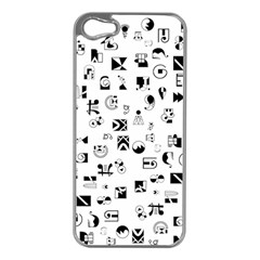 Black Abstract Symbols Apple Iphone 5 Case (silver)