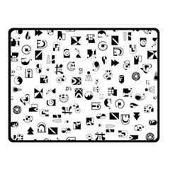 Black Abstract Symbols Double Sided Fleece Blanket (small)