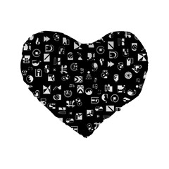 White On Black Abstract Symbols Standard 16  Premium Flano Heart Shape Cushions
