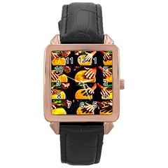 Drum Beat Collage Rose Gold Leather Watch