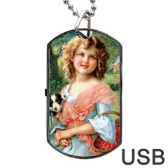 Girl With Dog Dog Tag Usb Flash (two Sides)