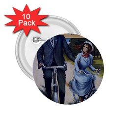 Couple On Bicycle 2 25  Buttons (10 Pack)