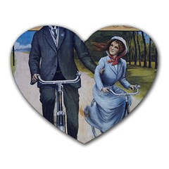 Couple On Bicycle Heart Mousepads