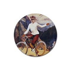 Woman On Bicycle Magnet 3  (round)
