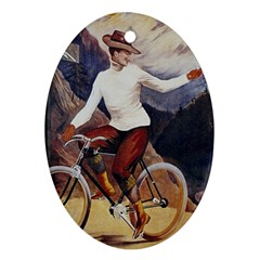 Woman On Bicycle Oval Ornament (two Sides)