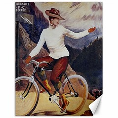 Woman On Bicycle Canvas 12  X 16