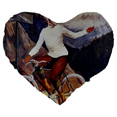 Woman On Bicycle Large 19  Premium Heart Shape Cushions by vintage2030
