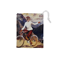 Woman On Bicycle Drawstring Pouch (small)