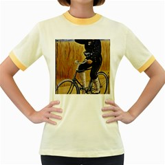 Policeman On Bicycle Women s Fitted Ringer T Shirt