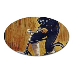 Policeman On Bicycle Oval Magnet