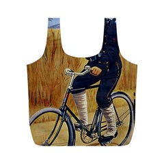 Policeman On Bicycle Full Print Recycle Bag (m)