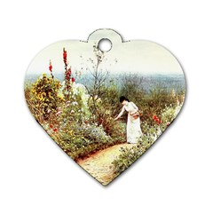 Lady And Scenery Dog Tag Heart (one Side)