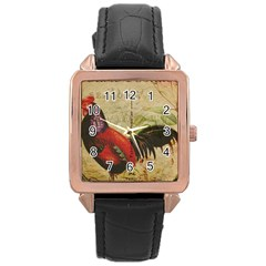 Rooster Rose Gold Leather Watch