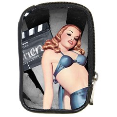 Retro Pin Up Girl Blue Compact Camera Leather Case