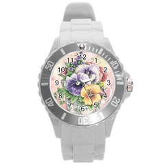 Lowers Pansy Round Plastic Sport Watch (l) by vintage2030