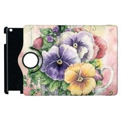 Lowers Pansy Apple Ipad 3/4 Flip 360 Case
