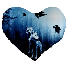 Wolfs Large 19  Premium Flano Heart Shape Cushions