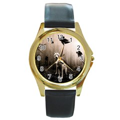 Wolfs Round Gold Metal Watch