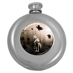 Wolfs Round Hip Flask (5 Oz)