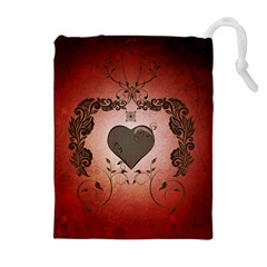 Wonderful Heart With Decorative Elements Drawstring Pouch (xl)