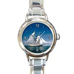 SAILBOAT ON THE SEA ROUND ITALIAN CHARM WATCH