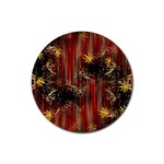 Mary Jane burgundy black and gold bedsheets  Rubber Coaster (Round)