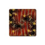 Mary Jane burgundy black and gold bedsheets  Square Magnet