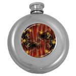 Mary Jane burgundy black and gold bedsheets  Round Hip Flask (5 oz)