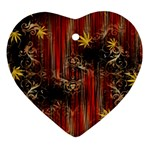 Mary Jane burgundy black and gold bedsheets  Heart Ornament (Two Sides)