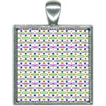 Retro Blue Purple Green Olive Dot Pattern Square Necklace