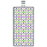 Retro Blue Purple Green Olive Dot Pattern Rectangle Necklace