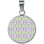 Retro Blue Purple Green Olive Dot Pattern 20mm Round Necklace