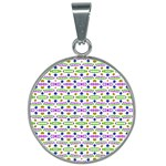 Retro Blue Purple Green Olive Dot Pattern 25mm Round Necklace